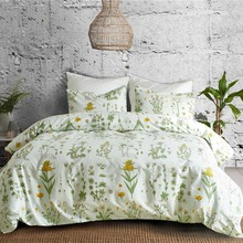 Pastoral Style Beautiful Flowers Bedding Set Sanding Green Plants Bedclothes Pillowcase Duvet Cover Sets Home Textiles for Quilt