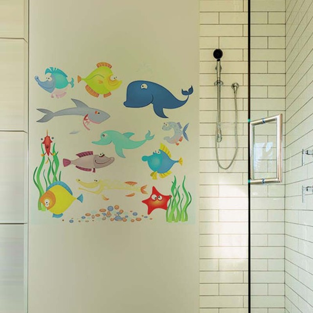 Marine animals whale wall stickers bathroom transparent glass film window stickers removable shark vinyl art decal
