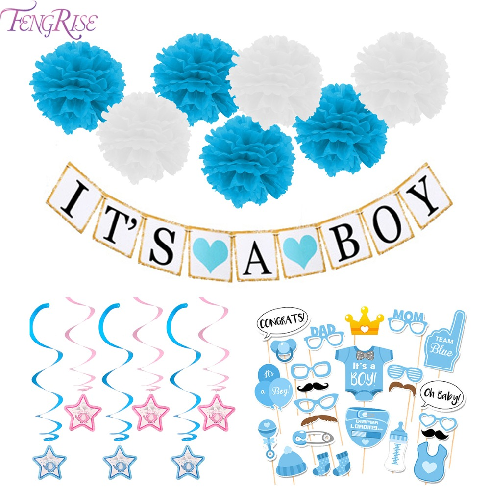 FENGRISE 3M Paper Baby Shower Banner Ghirlande Decorazione Its A Boy Girl Bunting 1 ° Compleanno I Am One Party Favors Supplies