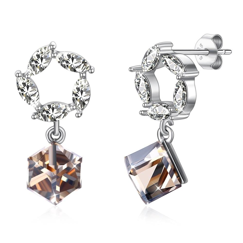 LEKANI Crystals from Swarovski Element 925 Sterling Silver Drop Earrings Flower Beads Pendant Earring Fashion Jewelry