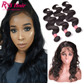360 Lace Frontal With Bundle 8A Malaysian Virgin Hair Closure With Bundles Malaysian Body Wave Pre Plucked Frontal With Bundles