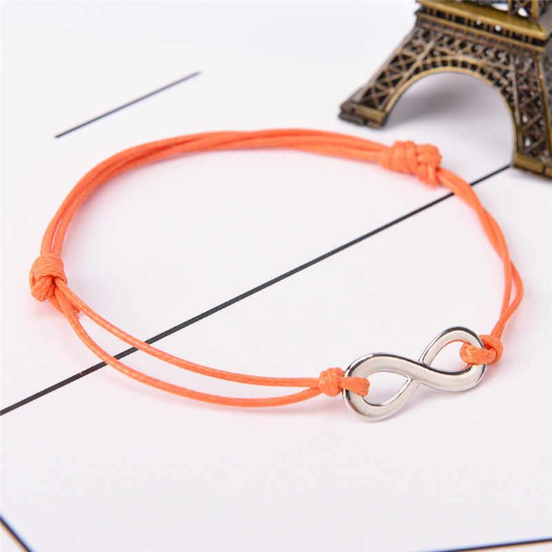 Weave צמיד בעבודת יד מתכוונן עתיק כסף אינפיניטי בצבע כותנה ידידות אהבה