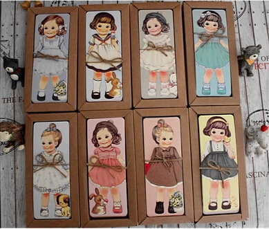 30PCS/lot New Girl Doll Mate Series Bookmark Set / Paper Bookmarks/ Book Holder / Message Card With Kraft Package