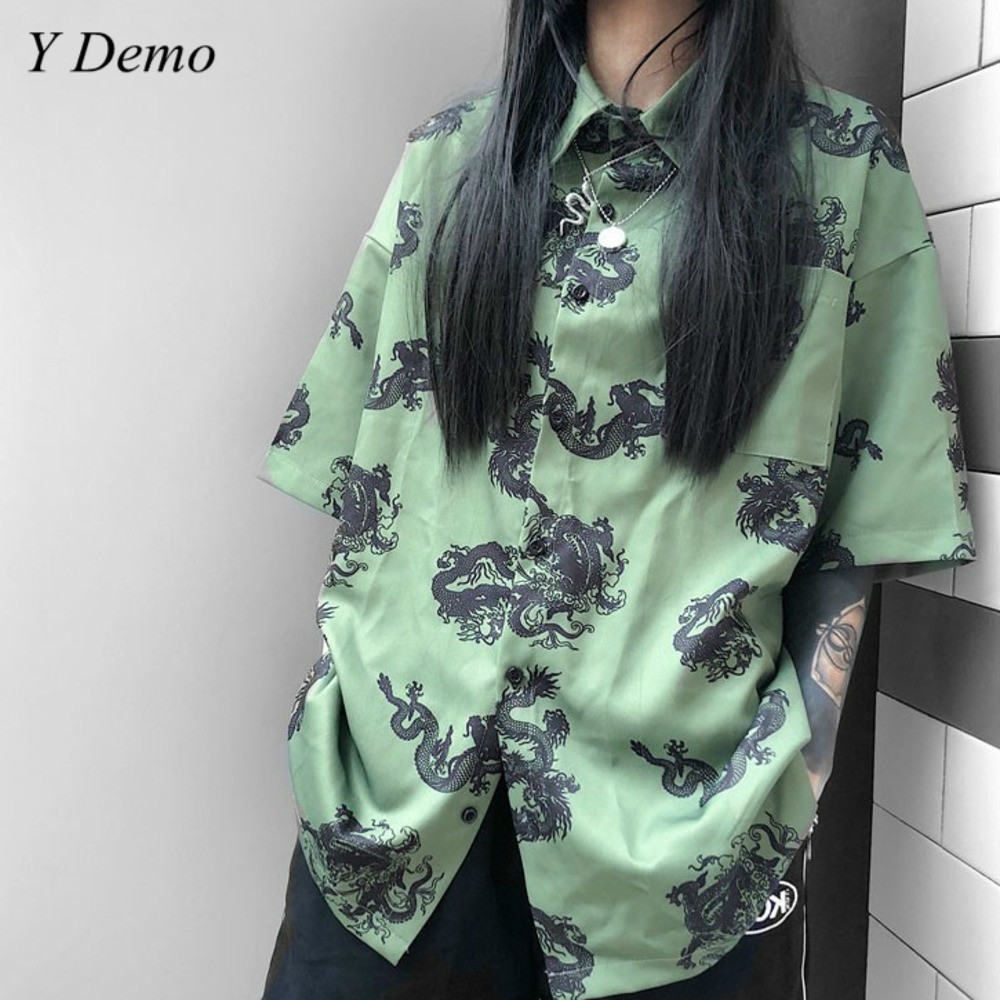 New Casual Chinese Dragon Harsjuku   Shirt   Green Summer Loose Short Sleeve   T  -  shirt