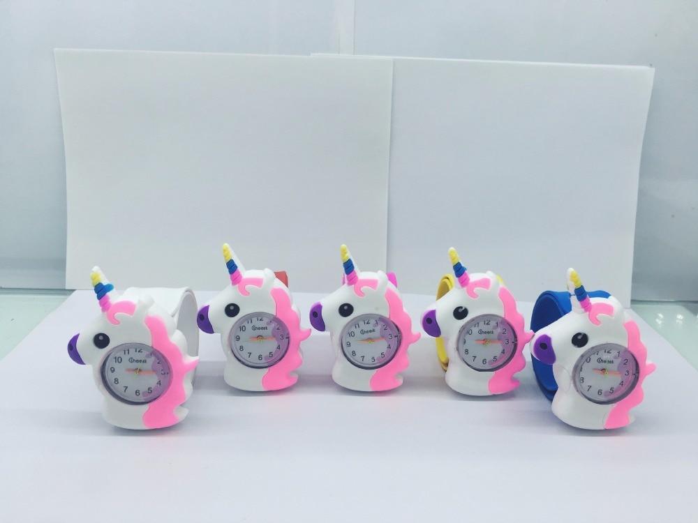 50pcs kids children Boys girls Unicorn Rubber Wristwatch Children slap watch Gift Party Kids Watch Watches