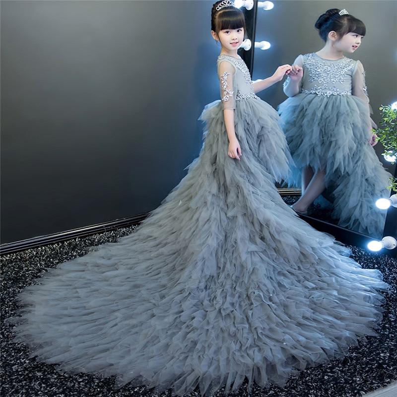 2018 New Kids Girls Luxury Gray Blue Color Piano Model Show Long Tail Dress Children Teens Model Show Piano Host Costume Dress