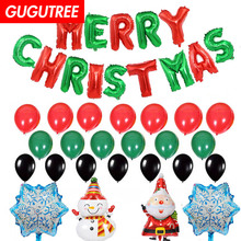 Merry Christmas balloons for party Decoration, foil Banners Paper flowers tassels Streamers decoration PD-147