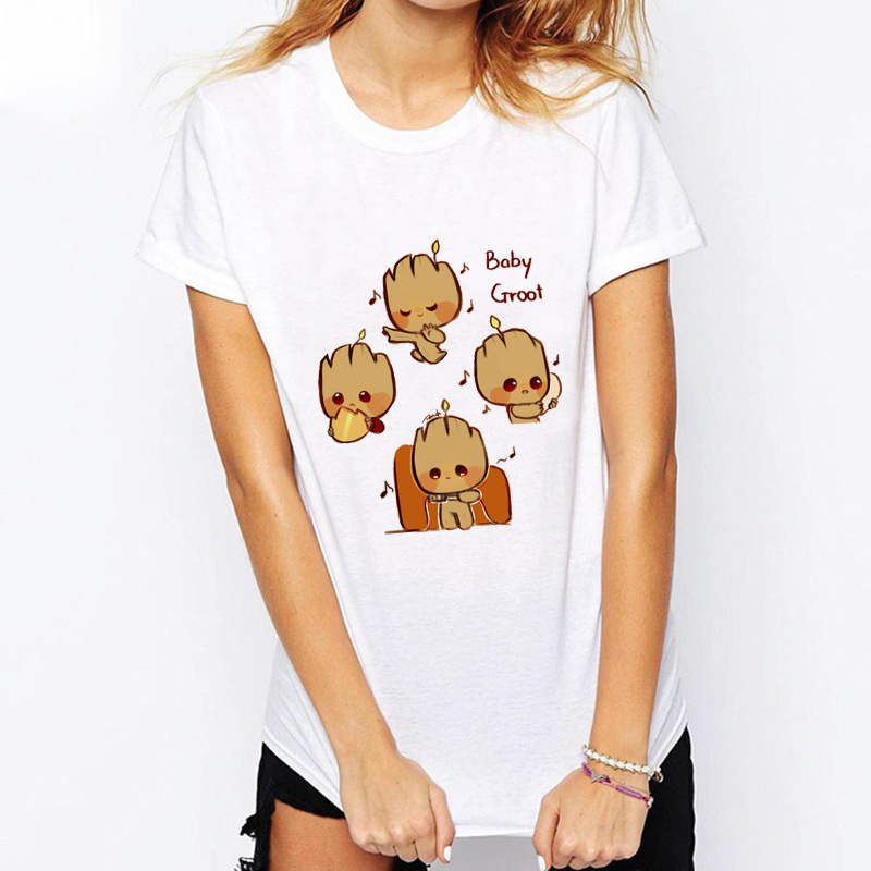 ZZSYKD Women White Vogue T Shirt Baby Groot Printed Pop Summer Funny T-Shirt Guardian Femme Sexy Tshirt Top Plus Size Clothing