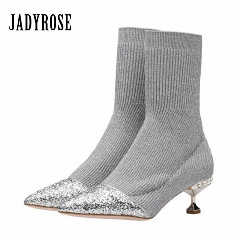 Jady Rose 2018 New Silver Women Winter Warm Boots Pointed Toe High Heels Paillette Stretch Ankle Boots Knit Sock Botas Mujer fashion kardashian ankle elastic sock boots chunky high heels stretch women autumn sexy booties pointed toe women pumps botas