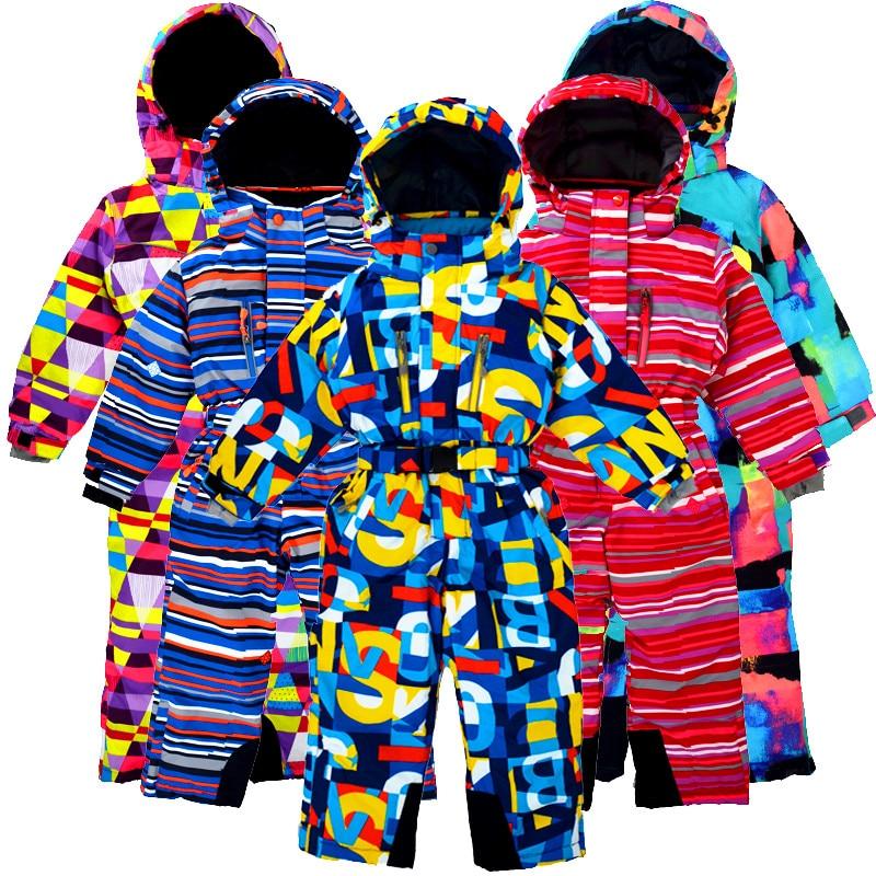 Children s winter outdoor jumpsuit ski suit windproof snow proof water plus velvet thickening