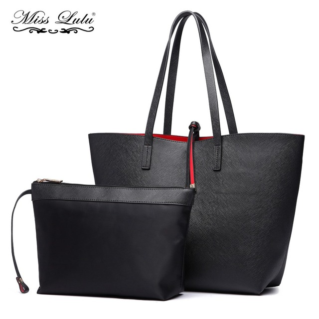 Miss Lulu 2 Pieces Women Designer Fashion Handbags Las Reversible Hobo Shoulder Bags Female Leather Large
