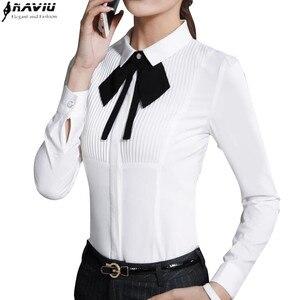 Image 1 - Neue Frühjahr Elegante Fliege Frauen Weißes Hemd OL Formale Dünne Lange Sleeve Chiffon Blusen Büro Damen Plus Größe arbeit Tragen Tops