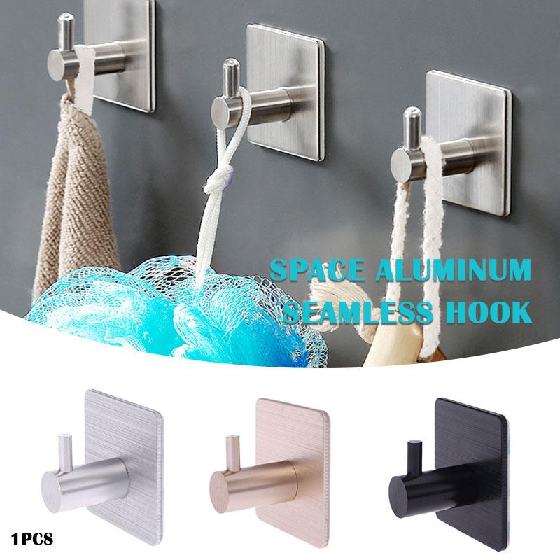 Aluminum Hook With Sticker Self Adhesive Durable Wall Hook Aluminum Alloy Towel Hanger Convenient Door Hook Drop Shipping