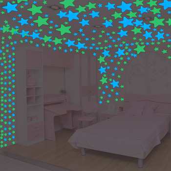 100pcs Fluorescent Glow in the Dark Stars Wall Stickers for Kids Rooms Decoration Livingroom Baby Bedroom Ceiling Home Decor