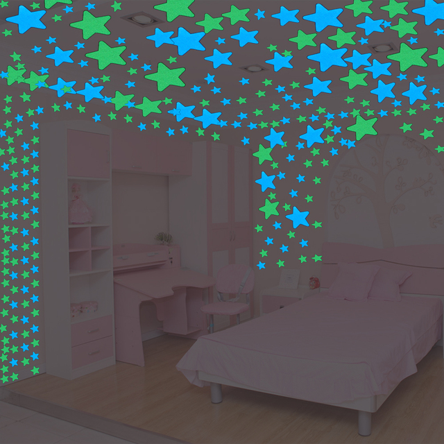 100pcs Fluorescent Glow In The Dark Stars