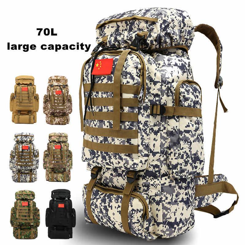 70L Tahan Air Molle Ransel Taktis Militer Tentara Hiking Camping Ransel Perjalanan Ransel Olahraga Luar Ruangan Pendakian Tas
