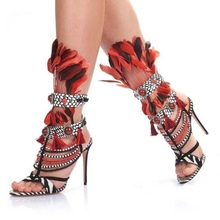 Real Photo Luxury 2018 Summer Newest Multi Color Gladiator Cuts Out Red Pearls Tassel Fringed Feather High Heels Custom Sandals