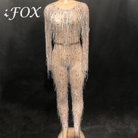 Сексуальные блестящие серебряные стразы комбинезон белая кисточка перспективный наряд день рождения, празднование вечерний костюм Женска