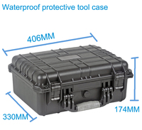 High quality Waterproof tool case toolbox Protective Camera Case Instrument box suitcase with pre cut foam lining 371*258*152mm