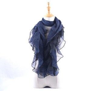 Image 1 - Акция! Женские шифоновые шарфы в горошек, летние шарфы с грибковыми краями, шаль с оборками, эластичный головной платок, мусульманский хиджаб
