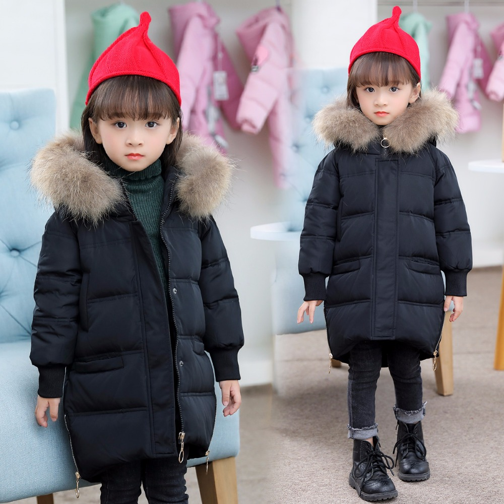 HSSCZL Girls Down Jackets 2018 New Thicken winter Hooded children outerwear overcoat 2-8age girl white duck down fashion coat new arrival 2018 winter europe fashion women s duck down coat