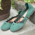 Женщины Натуральная Кожа Ню обувь Мори гриль на шнуровке Мокасины Повседневная Плюс размер Кожа Коровы обувь Белый Зеленый и кофе цвета