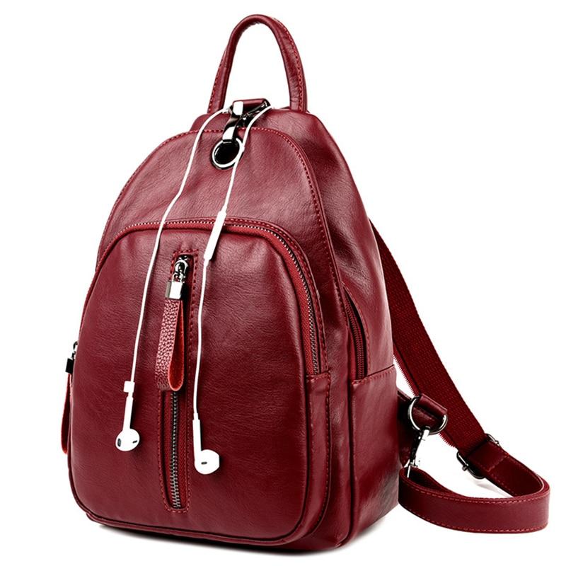 New Design Headphone Function Backpacks Fashion Women Leather Bags for Teenage Girls Solid Casual Women bag Backpack Mochila