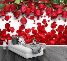 3d room wallpaper on the wall custom photo mural Crimson red rose Background wall home decor wallpaper for walls 3 d(China)