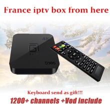 Android TV Box s905 + iptv Caja con 1 Año 1200 + Árabe Francés francia Bélgica código En Vivo TV IPTV y VOD incluyen caja de la tv inteligente