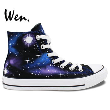 Wen Original Hand Painted Canvas Shoes Design Custom Blue Starlight Galaxy Men Women's High Top Canvas Sneakers