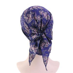 Image 5 - Women Muslim Hijab Caps Bandana Printed Turban Chemo Hats Long Hair Band Head Wrap Islamic Headscarf Hair Loss Hat Arab Fashion