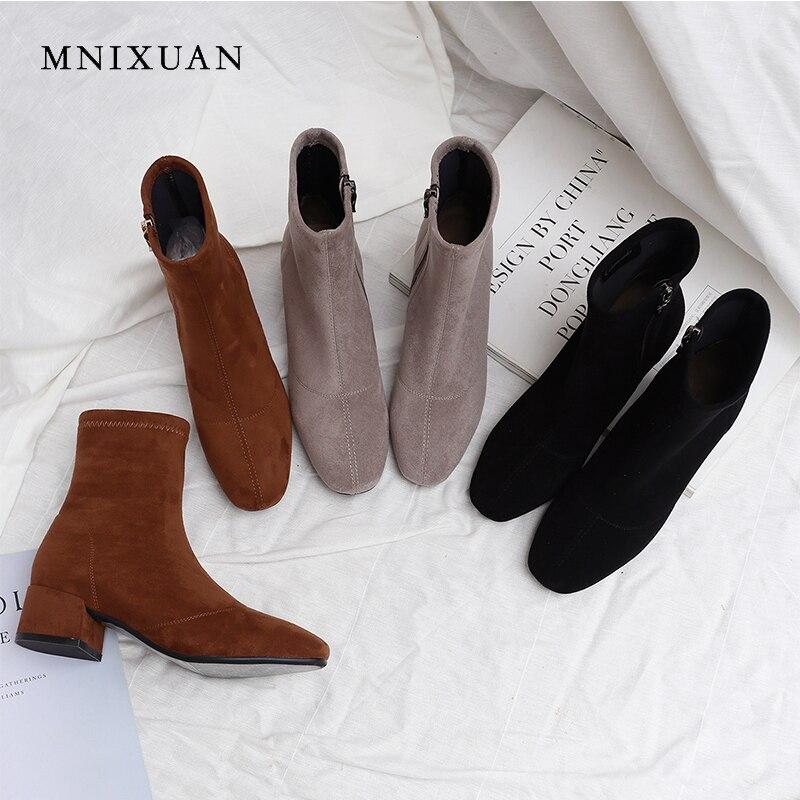 MNIXUAN style européen hiver femmes chaussures filles bottines 2018 daim bout rond fermeture éclair talons moyens 4 cm bureau bottes courtes noir
