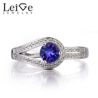 Leige Jewelry Natural Tanzanite Ring Engagement Ring December Birthstone Round Cut Gemstone 925 Sterling Silver Ring