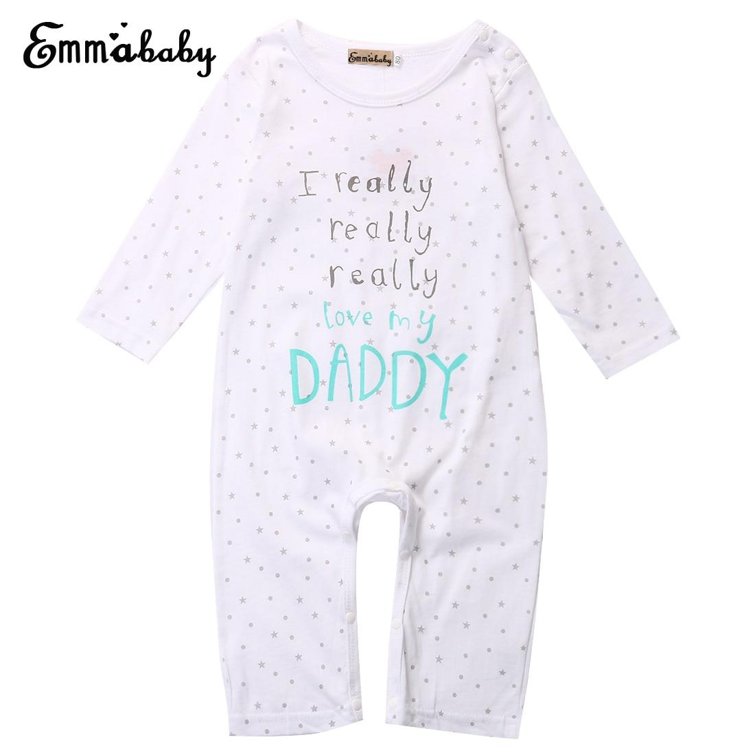 9f11fb2ed6eea Baby Clothes Baby Rompers I love Mum Dad Newborn Baby Boy Girl 100% Cotton  Long