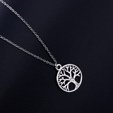 Life Tree Pendant Stainless Steel Necklace For Women&Men Trendy Metal Plants Necklaces Fashion Classic Life Tree Jewelry SN71(China)