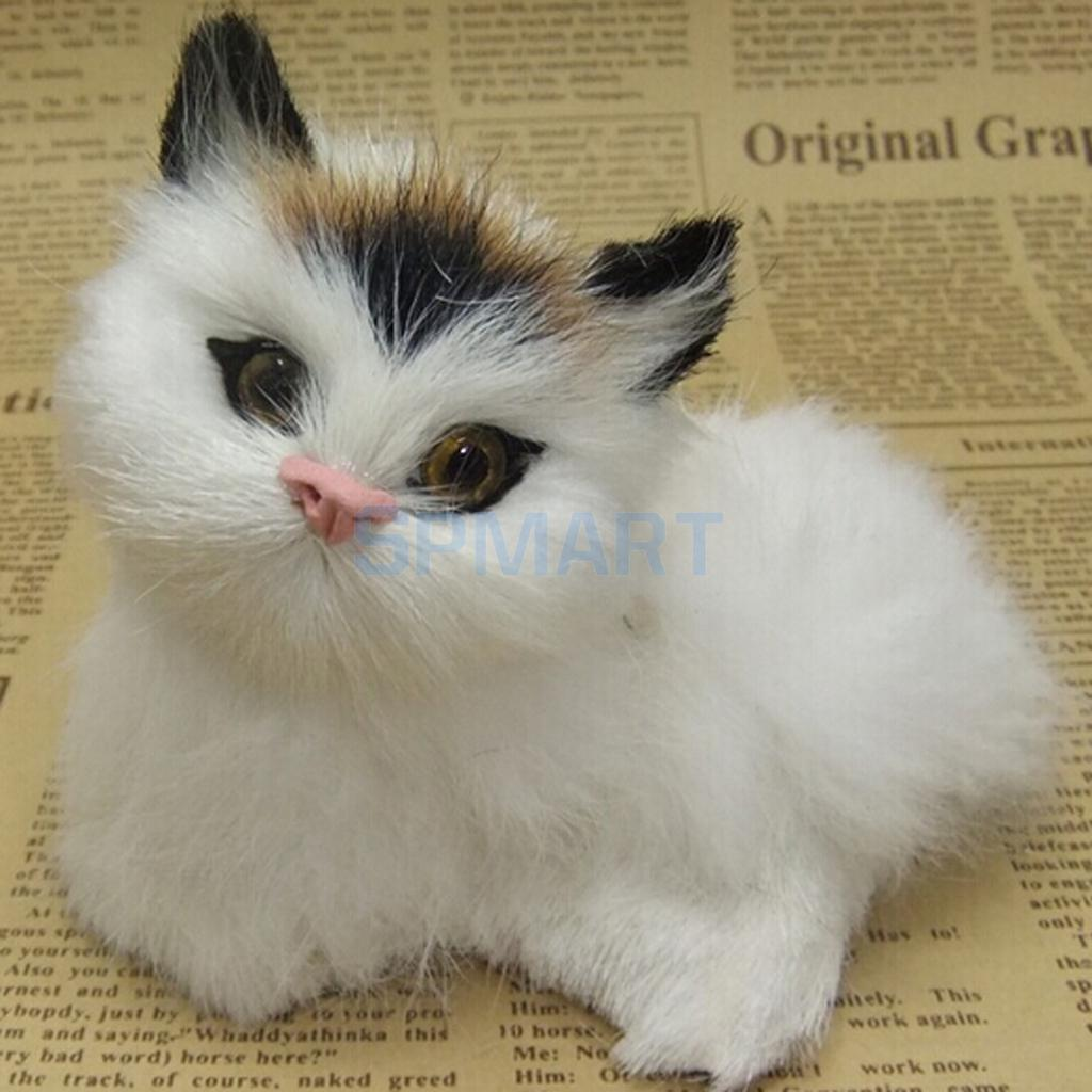 Cute Realistic Cat Toys Furry Interior Ornament Kids Gifts