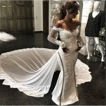 kejiadian Mermaid Wedding Dress long sleeve v-neck Train