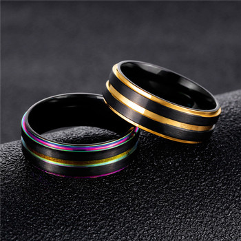 Modyle 2019 Brand New Black Stainless Steel Men Finger Rings Multicolor/Gold Color Cool Male Rings Gift Unique Engrave Jewellery 2