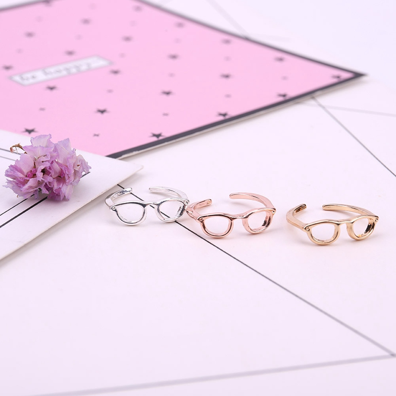 Min 1pc New fashion jewelry cute punk glasses finger rings for ladies fashion creative glasses open ring