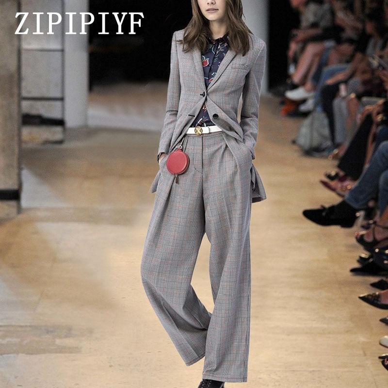 ZIPIPIYF2017Womens 2 Piece Pant Suits Women Casual Office Business Suits Formal Work Wear Sets Uniform Styles Elegant Pant Suits