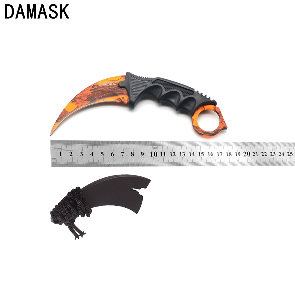 DAMASK New Fixed Blade Knife Outdoor Survival Karambit CS GO Cosplay Knife Camping Hiking Knife Stainless Steel Blade Non Sliped