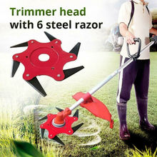 6 Steel Blades Razor 65Mn Lawn Mower Grass Eater Trimmer Head Brush Cutter Tools