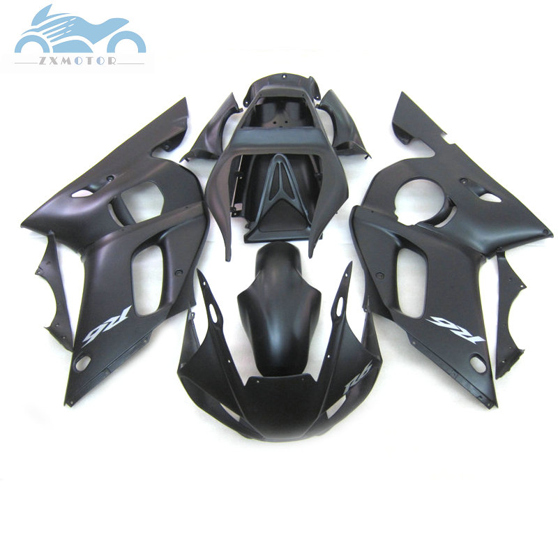 Customized motorcycle fairing kits fit for YAMAHA 1998 1999 <font><b>2000</b></font> 2002 YZF R6 98-02 YZFR6 sports fairings matte black parts EA08 image