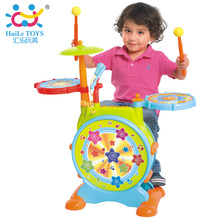 Baby Toys Kids Electronic Toy Drum with Adjustable Sing-along Microphone and Stool Electric Beats Jazz Drum Set Huile Toys 666
