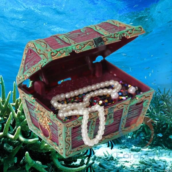 BCHZ Fish Tank Aquarium Ornament Air Action Treasure Chest Spectra Bubble Decoration
