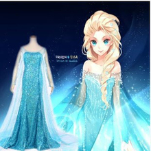 Free shipping direct selling stage foreign trade Cos animation Elsa frozen adult long tail dress with cloak for Halloween