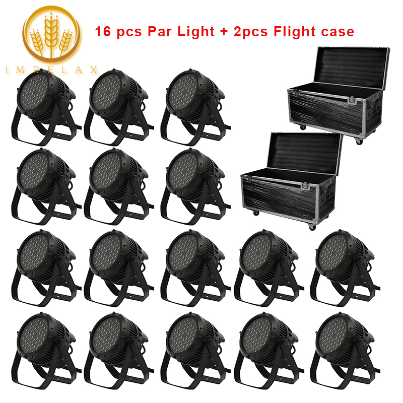 imrelax 16pcs waterproof 54x3w rgbw 4in1 led par light with flight case package stage lighting. Black Bedroom Furniture Sets. Home Design Ideas