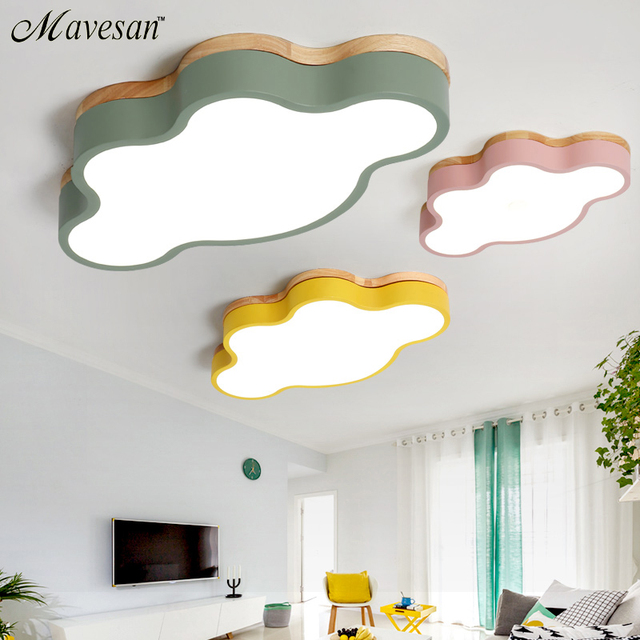 Hot Kids room led ceiling lights for bedroom lamps modern with Color polarizer luminaria lamps deco with Wooden for study room