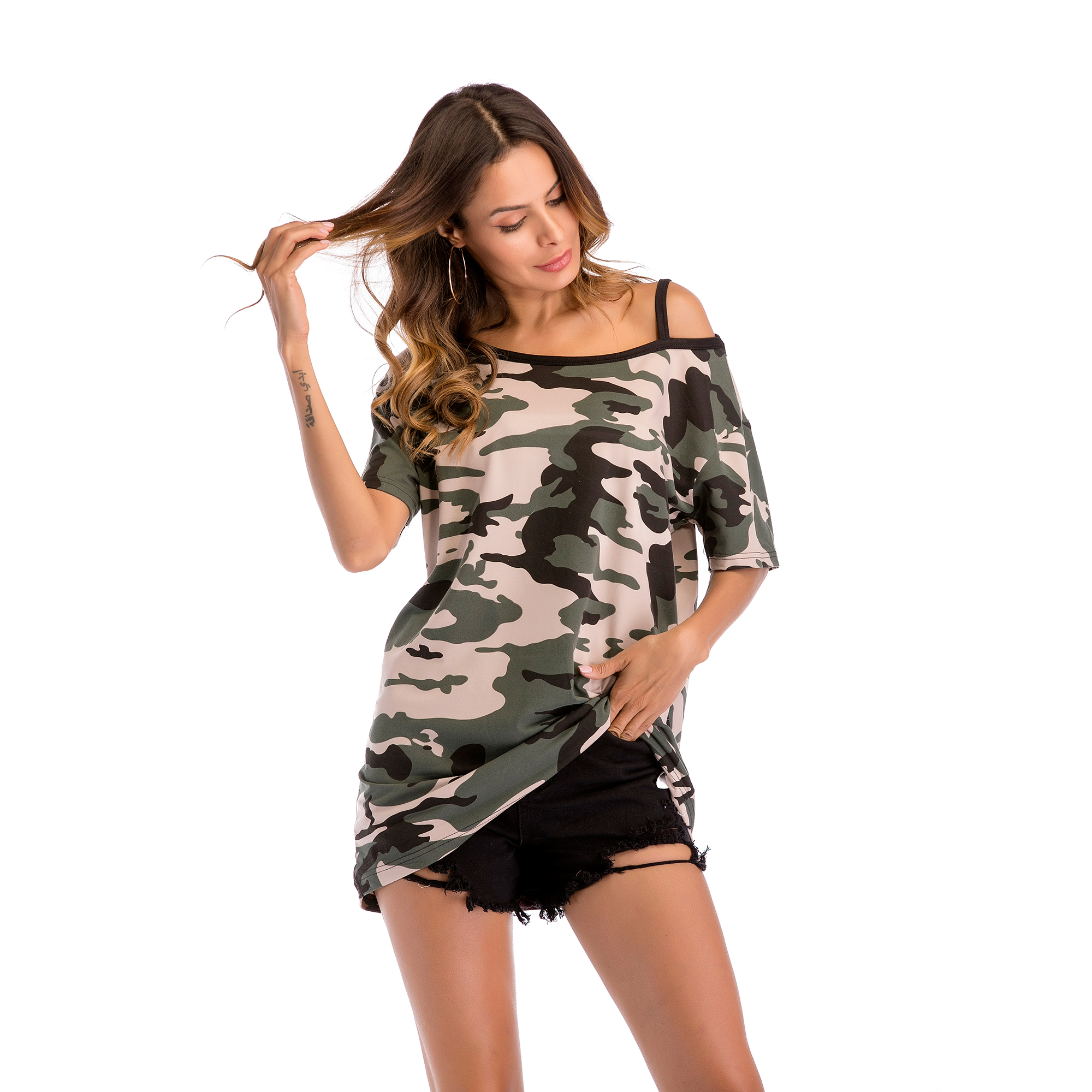 Camouflage Casual Women T-shirt  2019 Off Shoulder Short-sleeved Loose Large Size