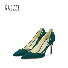 GAOZZE 2017 summer high heels pumps womens fashion rivets shoes  female pointed toe sexy shallow mouth women green wedding shoes